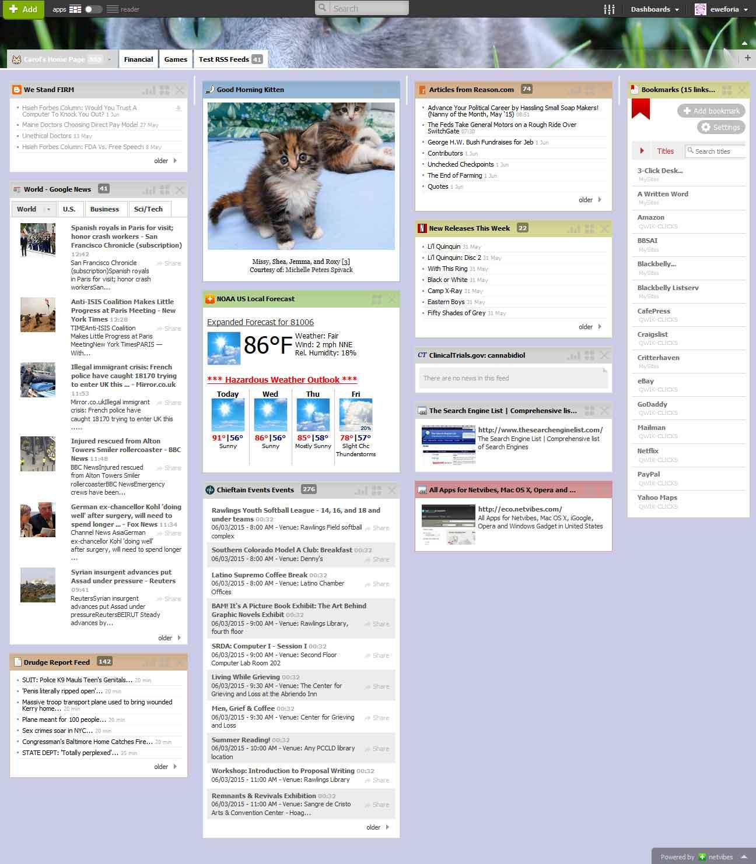 Netvibes dashboard screen capture